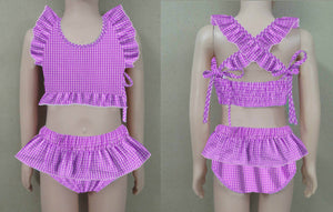 Purple Gingham Bikini Swim Suit