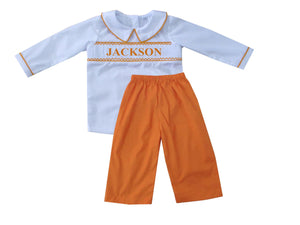 Personalized Orange Boys Pants Set