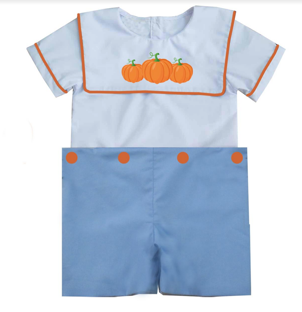 2019 Blue Bib Pumpkin Short Set