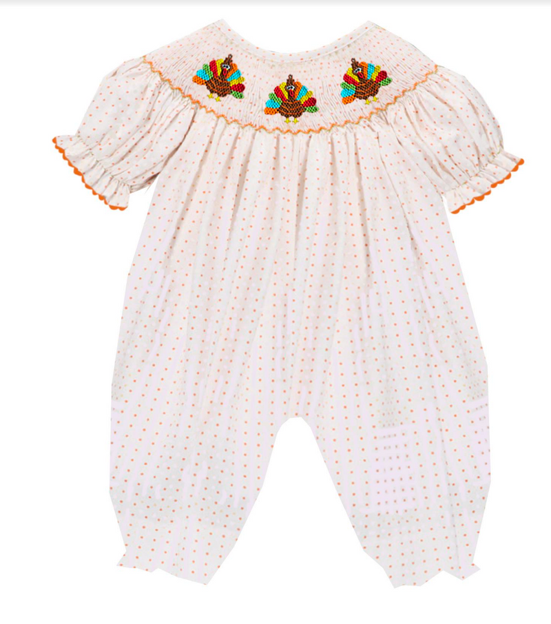 2019 Orange PolkaDot Turkey Romper