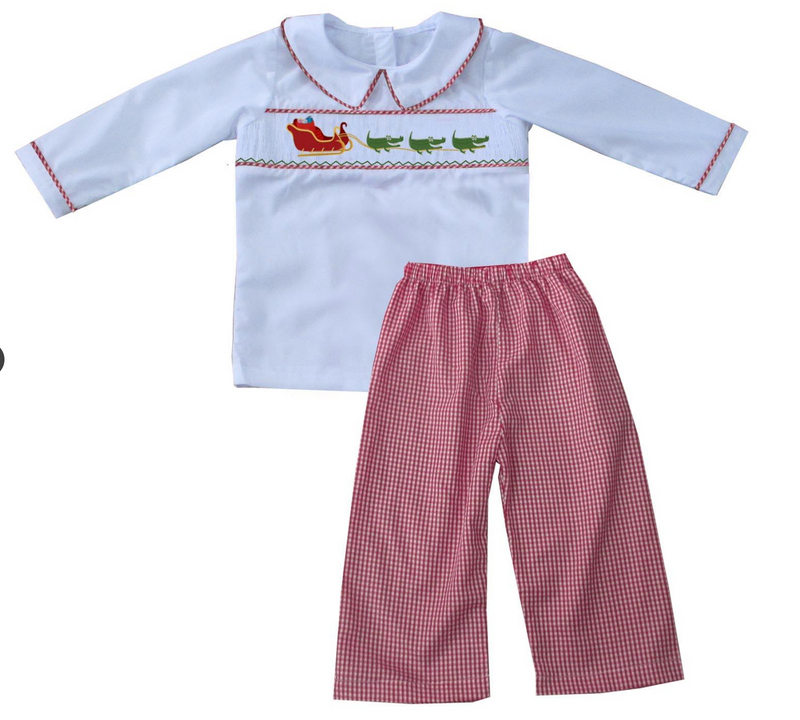 2019 Cajun Santa White Shirt Boy Pant Set