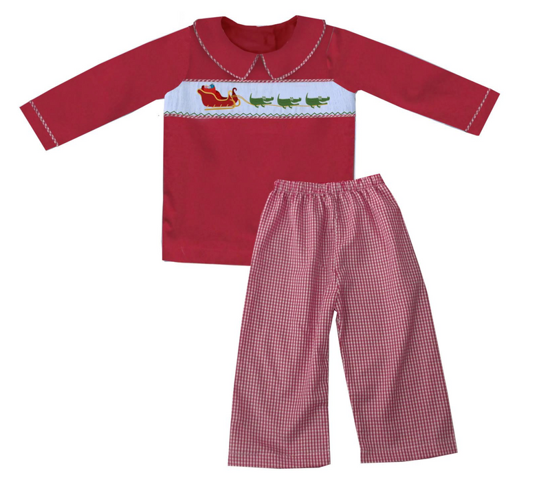 2019 Cajun Santa Red Shirt Boy Pant Set