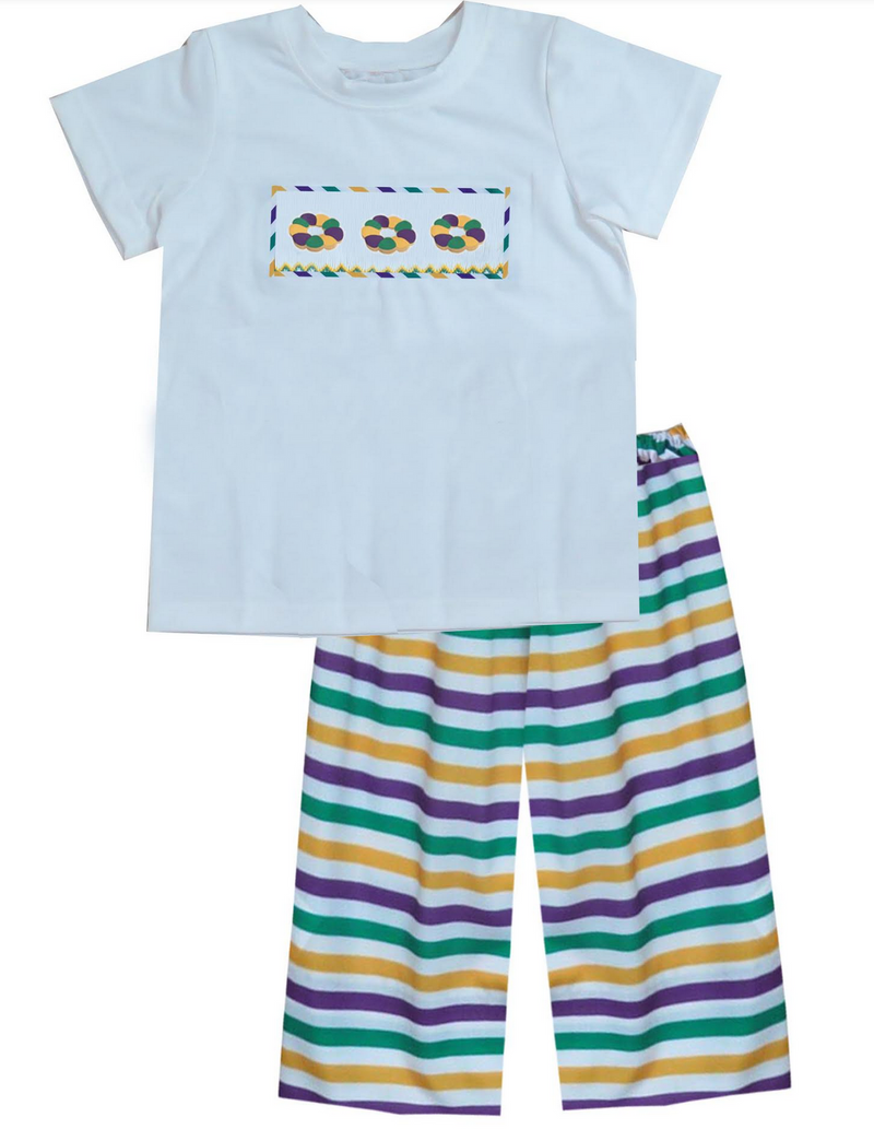 2019 Mardi Gras King Cake Boy Pant Set