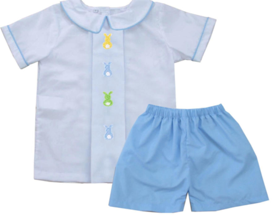 2020 Easter Dot Bunny Boy Short Set