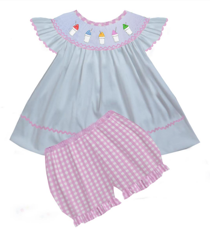 2020 Snowball Pink Gingham Girl Bloomer Set