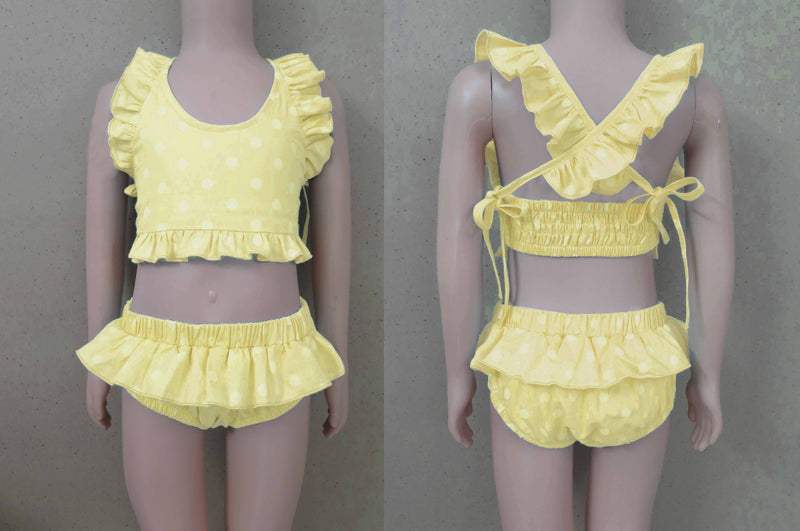 Yellow Polka Dot Bikini Swim Suit