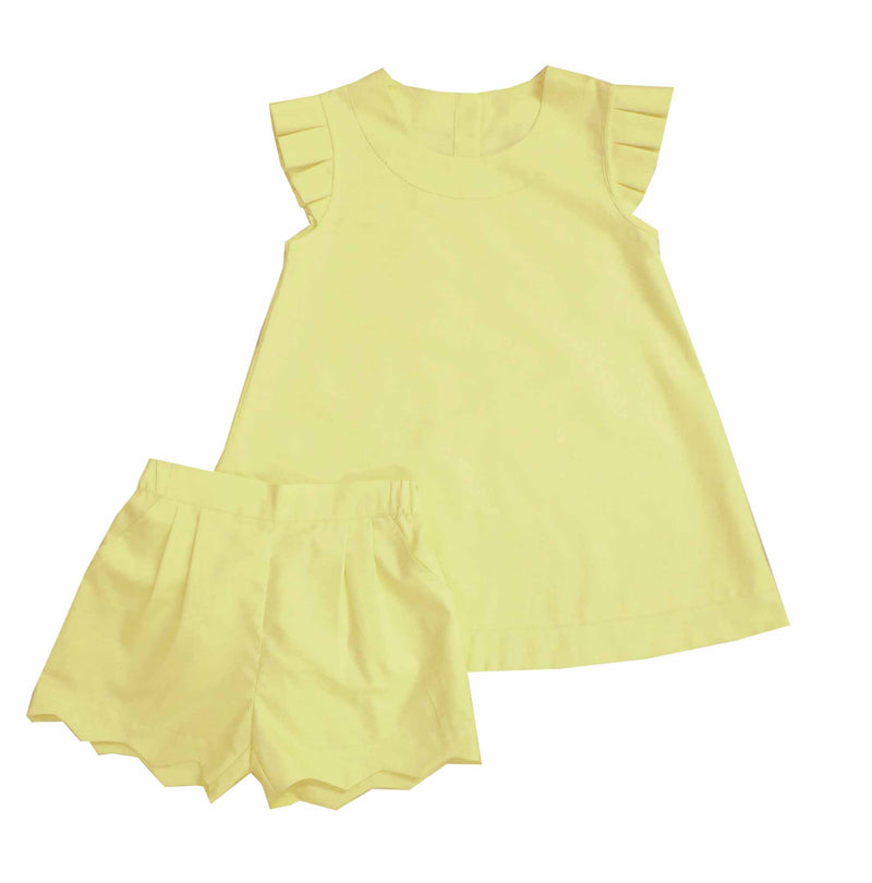 Yellow Scalloped Short Set