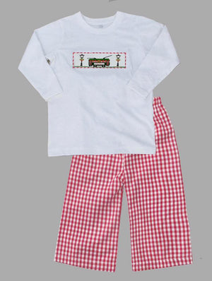 Red Gingham Streetcar with Lamp Boys Pants Set