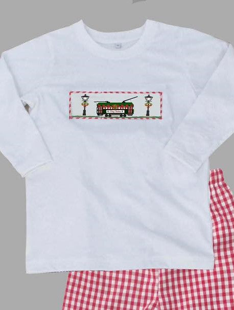 Red Gingham Streetcar with Lamp Boys TShirt Only