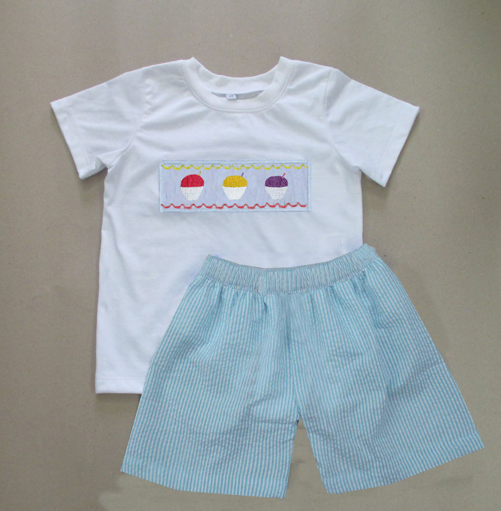 Aqua Seersucker Snowball Boys Short Set
