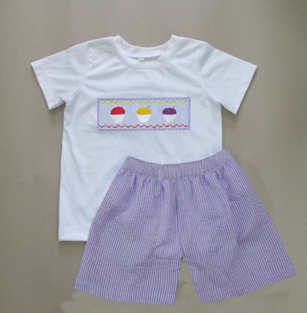 Lavender Seersucker Snowball Boys Short Set