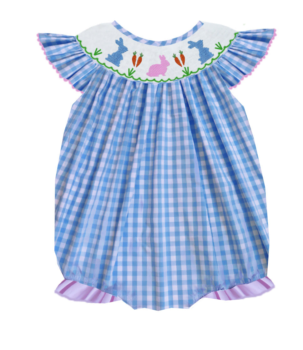 Blue Gingham Bunny Bubble