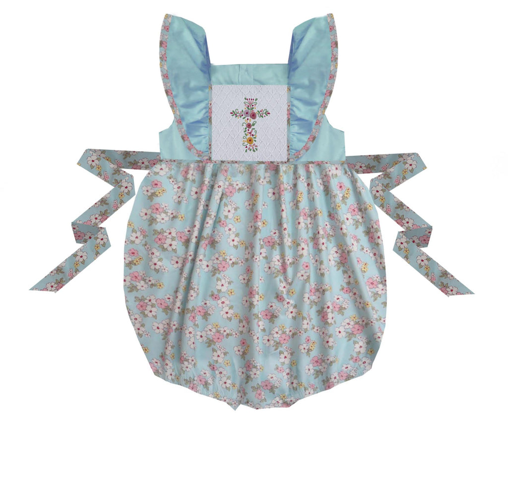 Floral Cross Pinafore Bubble