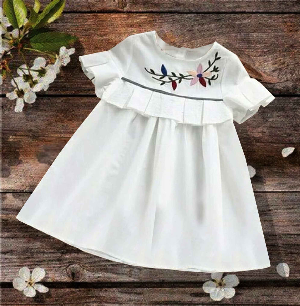 Short-sleeve Embroidered Flower Dress