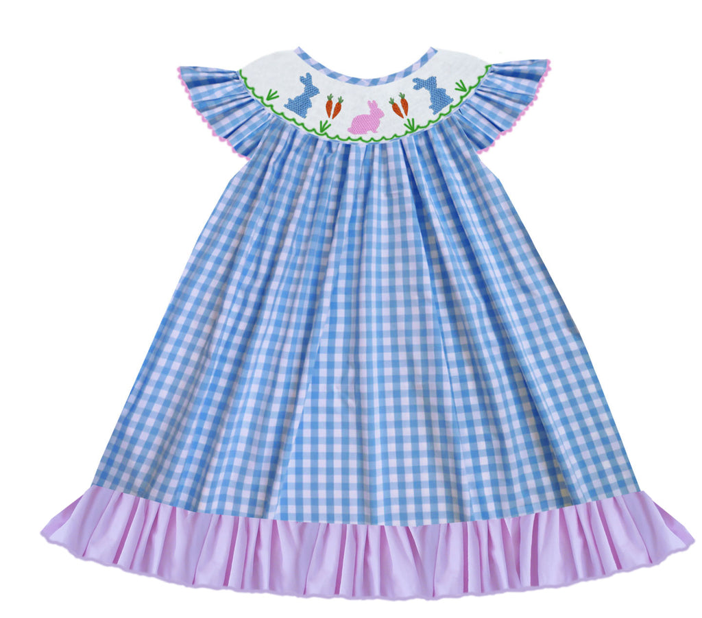 Blue Gingham Bunny Bishop Dress