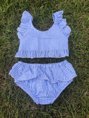 Blue Gingham Bikini Swim Suit