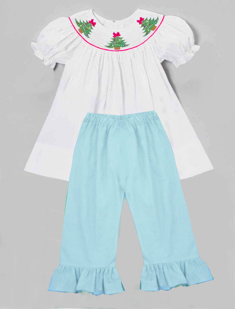 Aqua Gingham Christmas Girls Pants Set