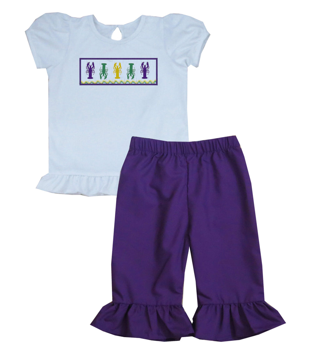Mardi Gras Crawfish TShirt Style Girls Pants Set