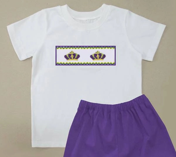 White Crown Mardi Gras Boys TShirt