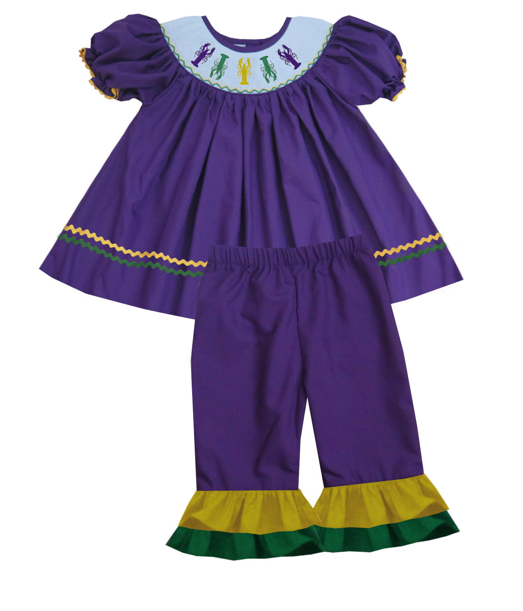 Mardi Gras Crawfish Bishop Style Girls Pants Set