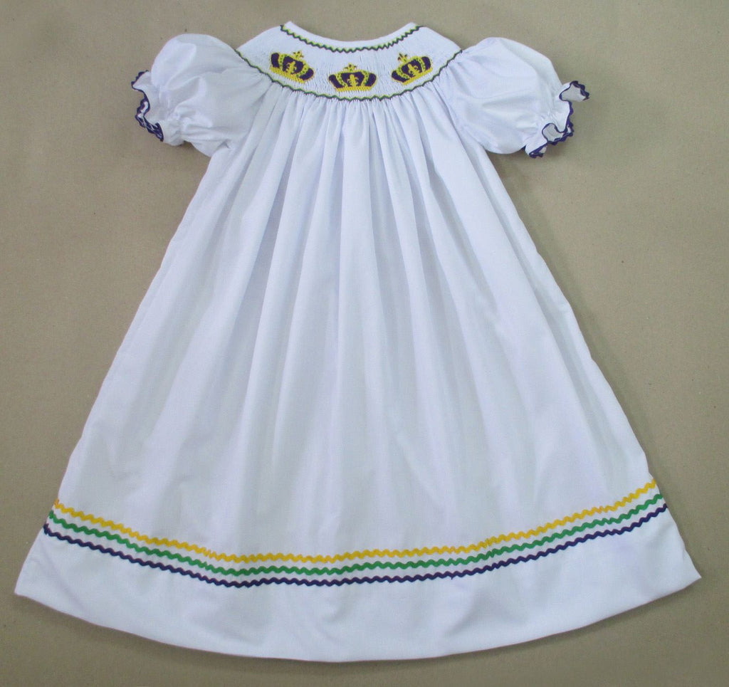 White Crown Mardi Gras Bishop Dress