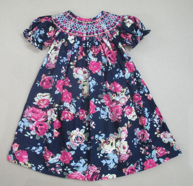 Dark Navy Floral Bishop Dress