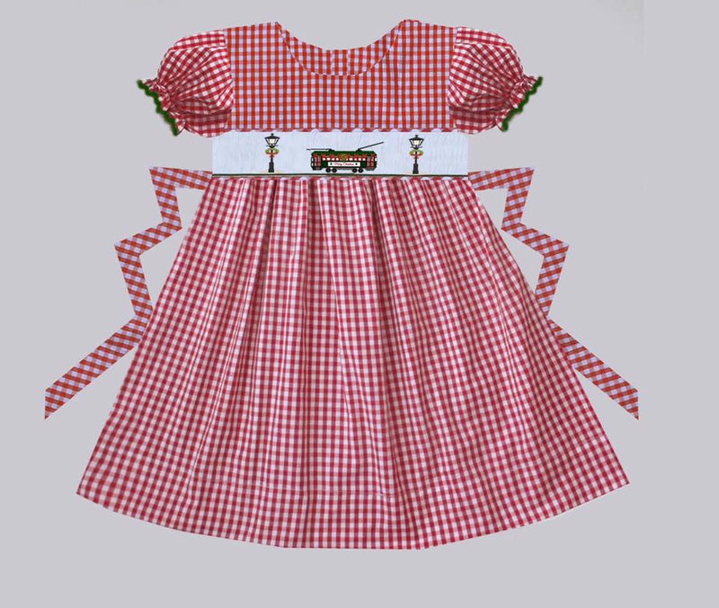 Red Gingham Streetcar with Lamp Post Aline Dress