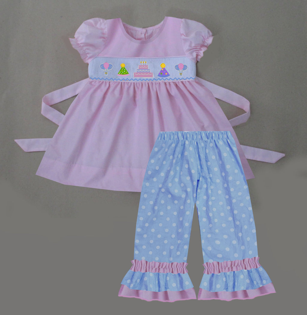 Birthday Girls Ruffle Pants Set