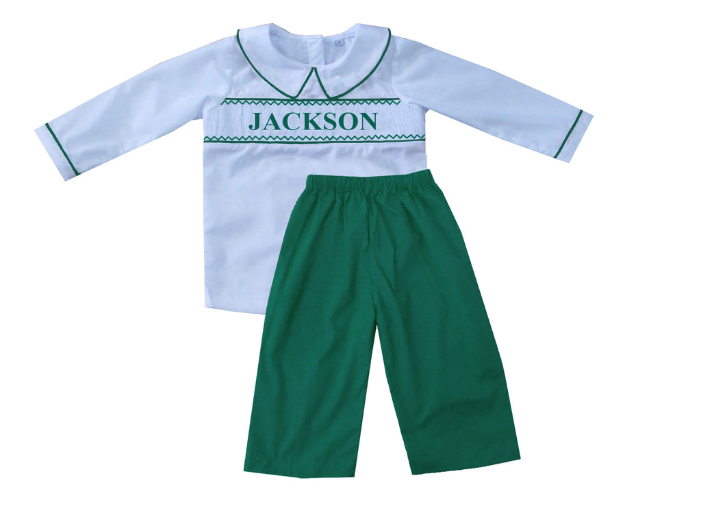 Personalized Green Boys Pants Set