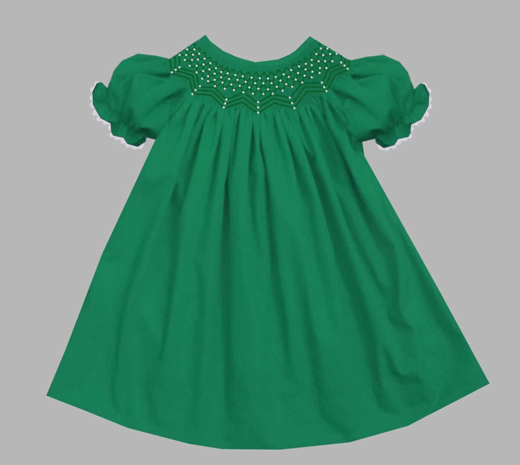 2019 Solid Pearl Short Sleeve Bishop Dress Green