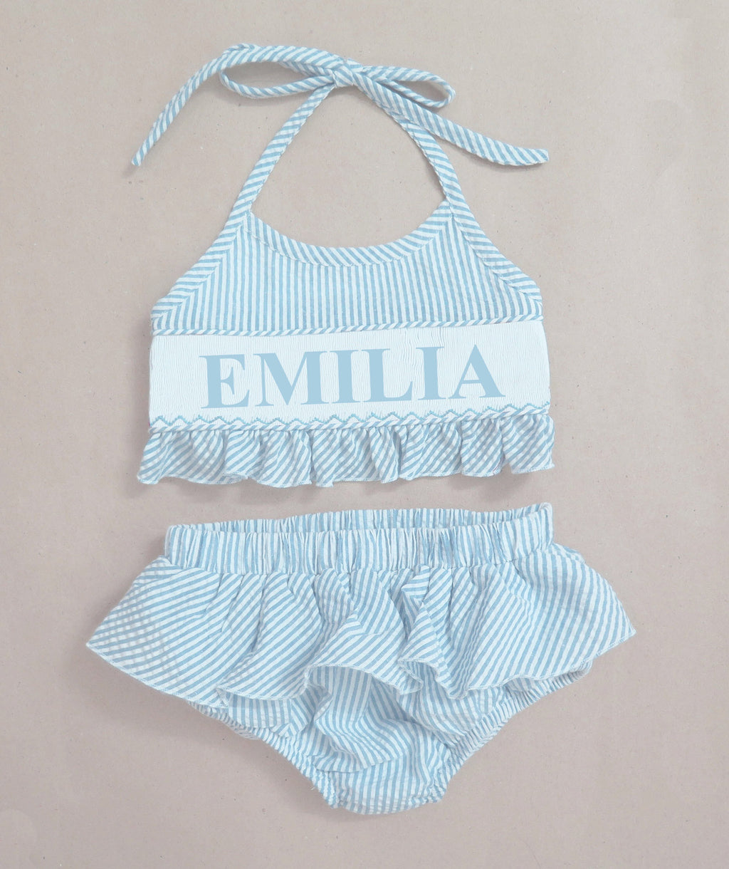 Personalized Aqua Seersucker Bikini  Swimsuit