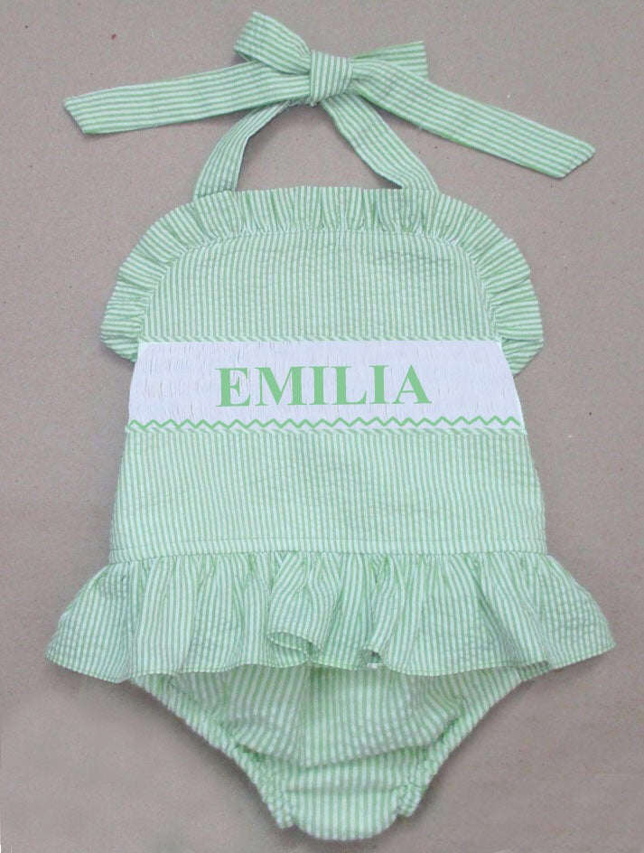 Personalized Lime Seersucker 1 Piece Swimsuit