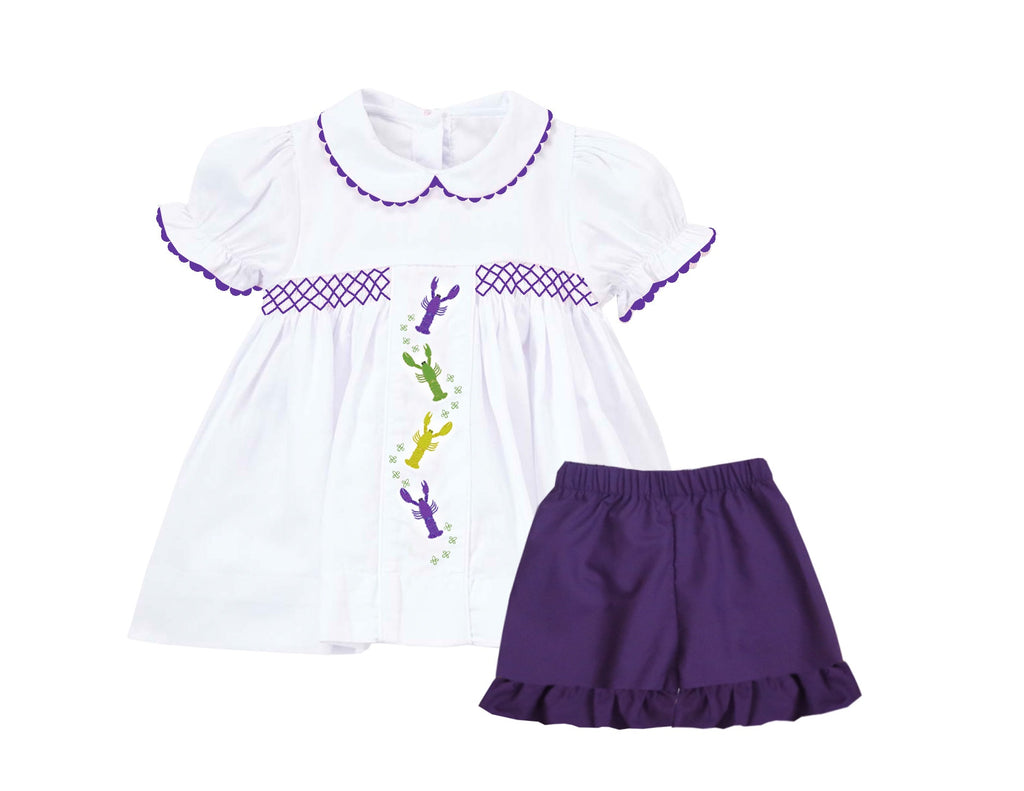 2019 Mardi Gras Crawfish embroidered girl short Set