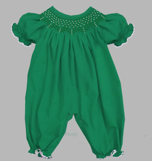 2019 Solid Pearl Romper Green