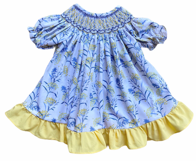 Blue and Yellow Floral Bishop Dress