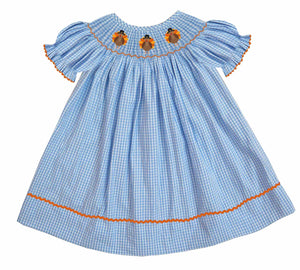 2019 Turkey Hat Girl Bishop Dress - Short Sleeve Gingham