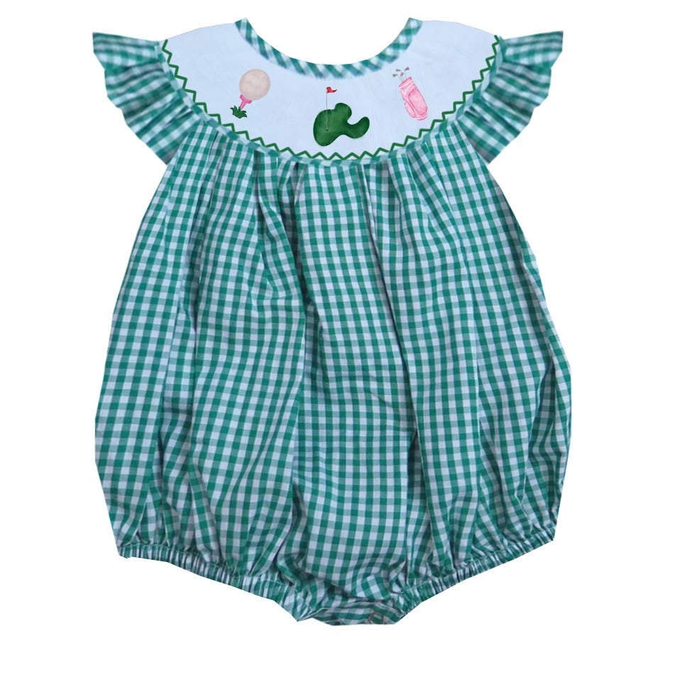Golf gingham girl bubble
