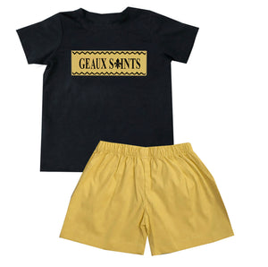 Gold Saints Black T-Shirt Set