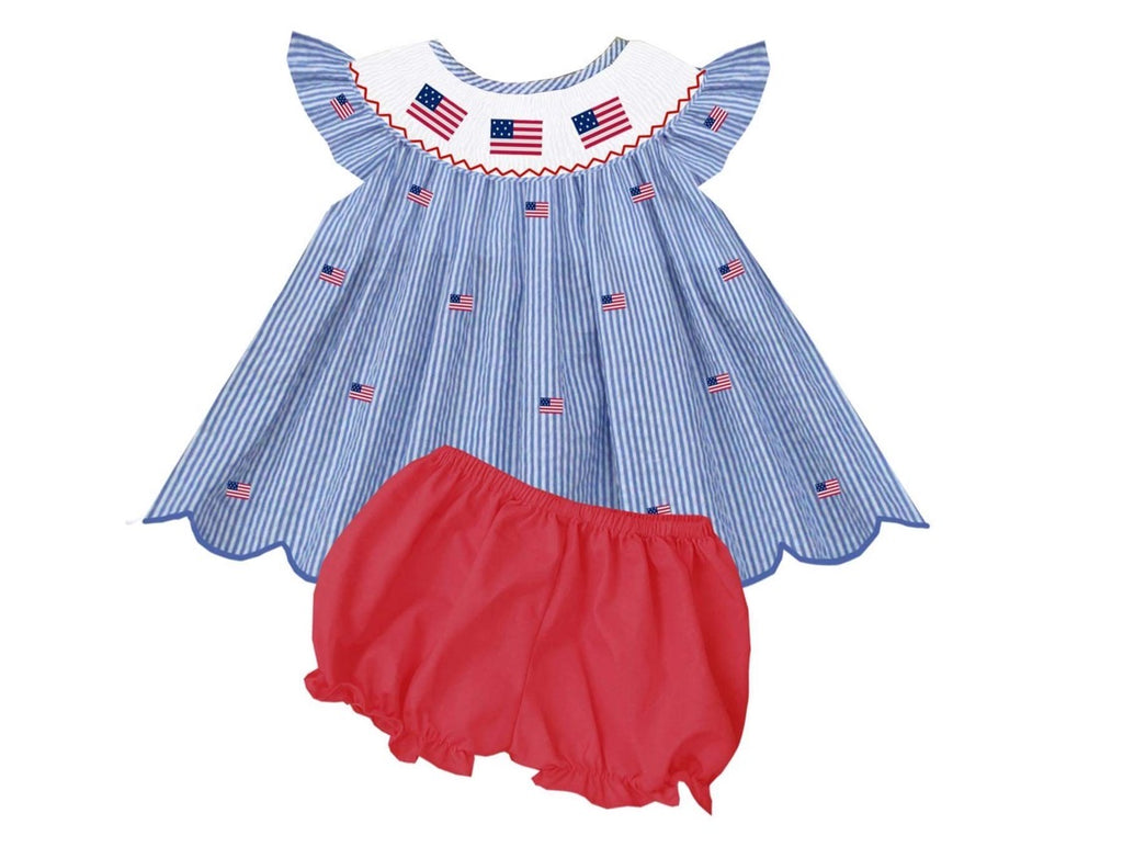 American Flag scallop bloomer/Short Set