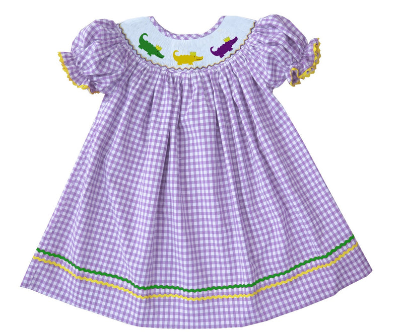 2019 MARDI GRAS Alligator Gingham Bishop dress