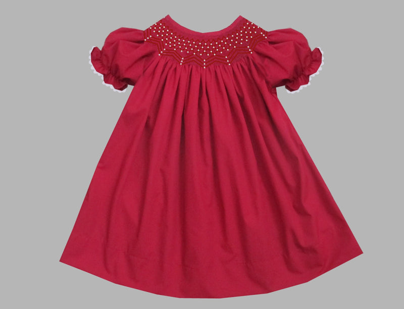 2019 Solid Pearl Short Sleeve Bishop Dress Red