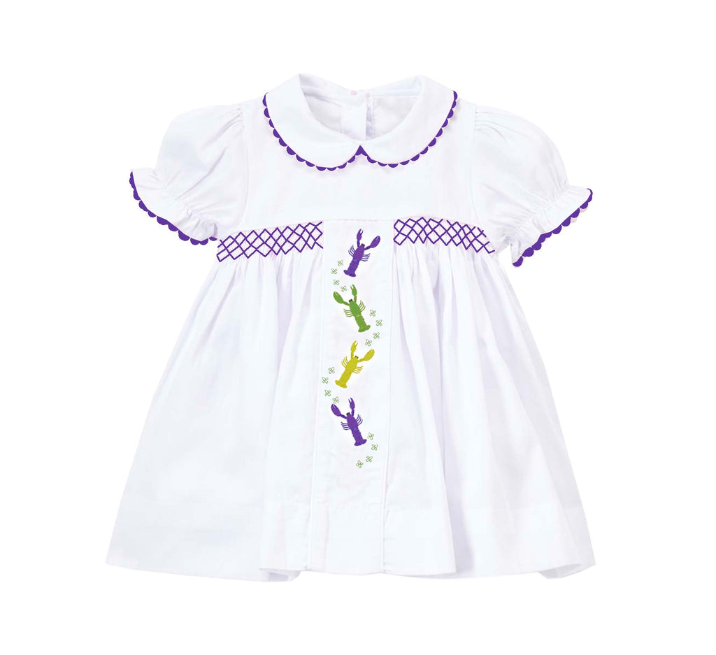 2019 MARDI GRAS crawfish embroidered dress