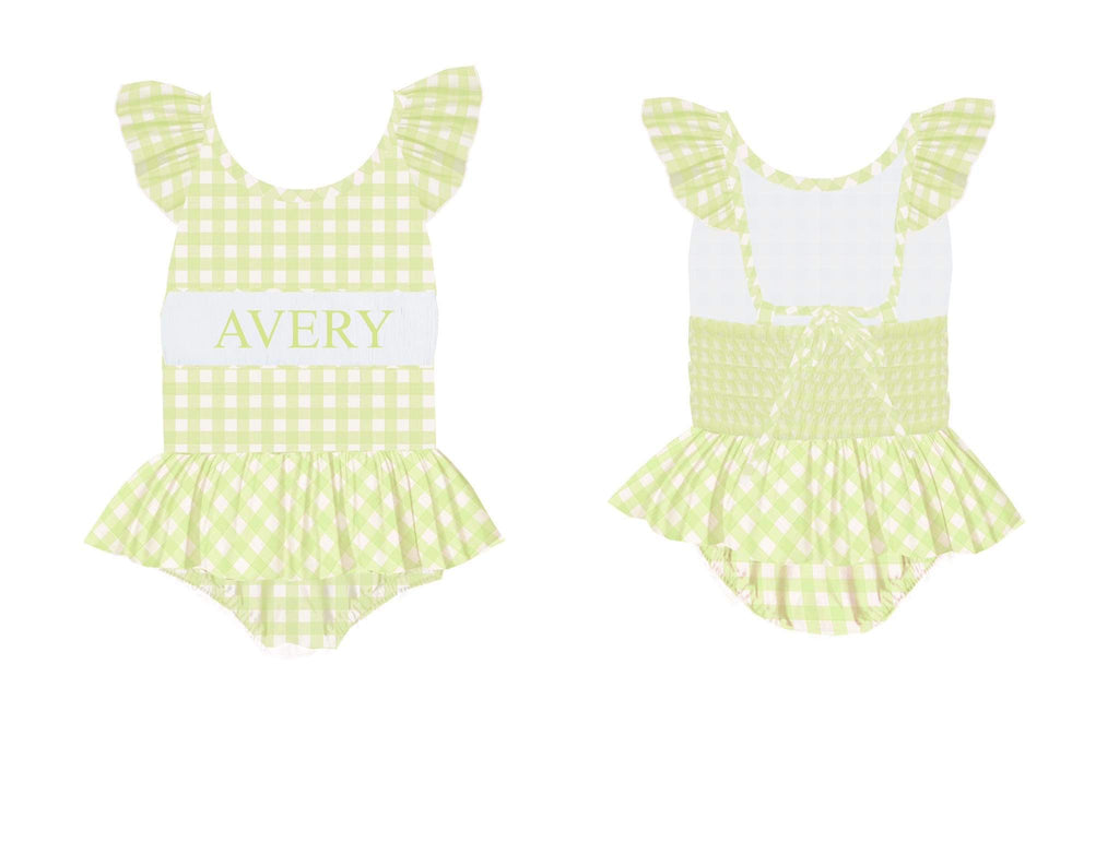 Personalized Green Check 1 Piece Swimsuit