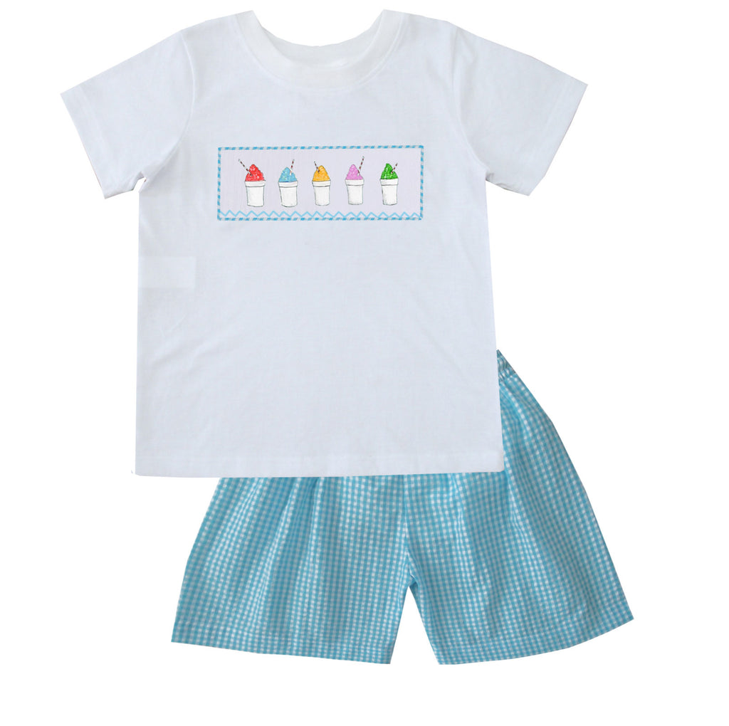2020 Snowball Aqua Seersucker Boy Short Set