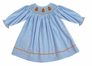2019 Turkey Hat Girl Bishop Dress - Long Sleeve Gingham