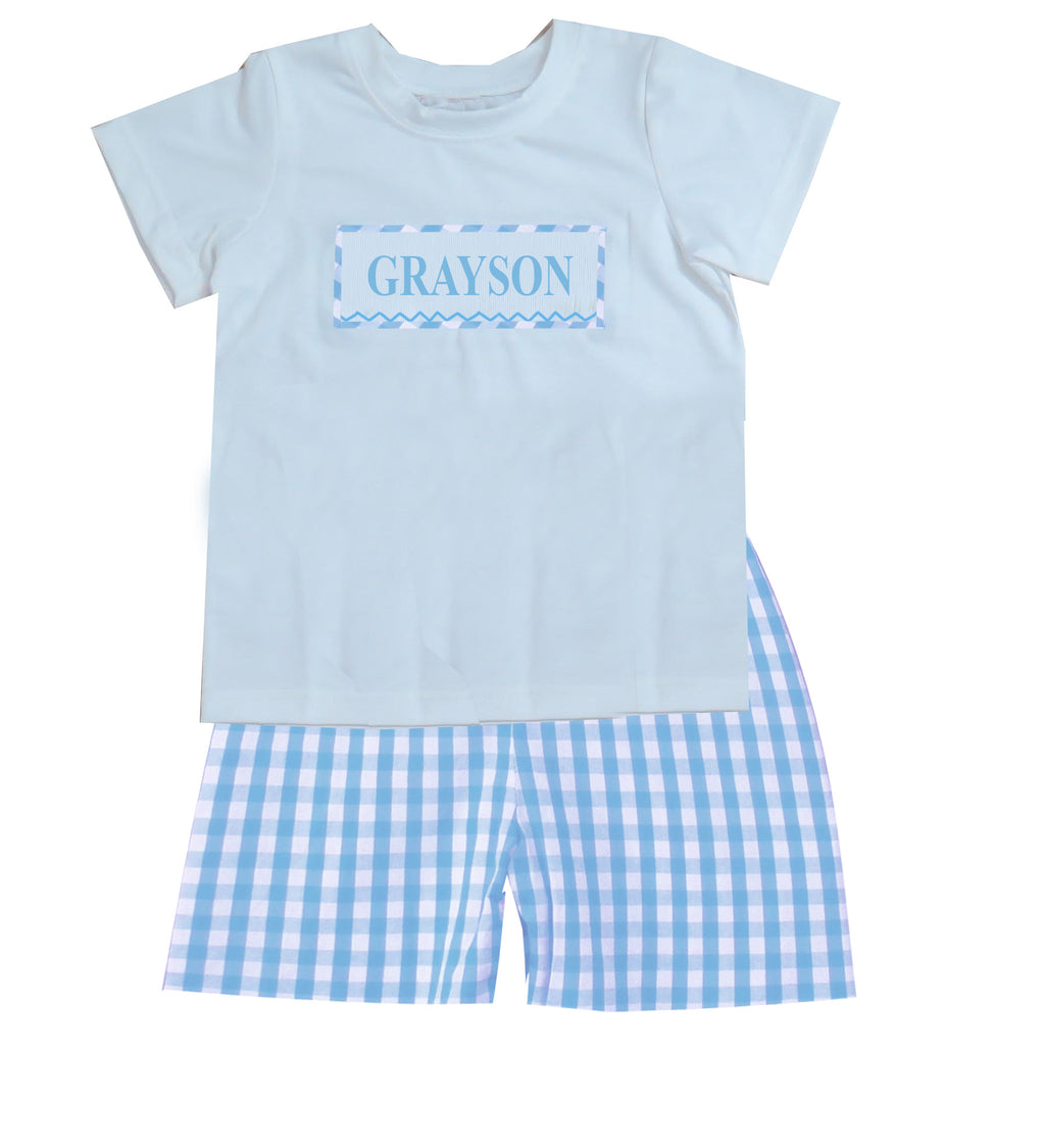 Personalized Blue Check Boys Short Set