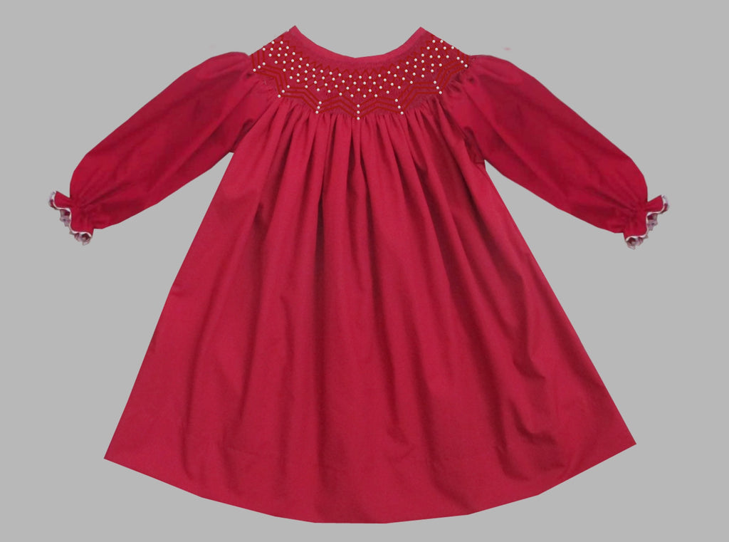 2019 Solid Pearl Long Sleeve Bishop Dress Red