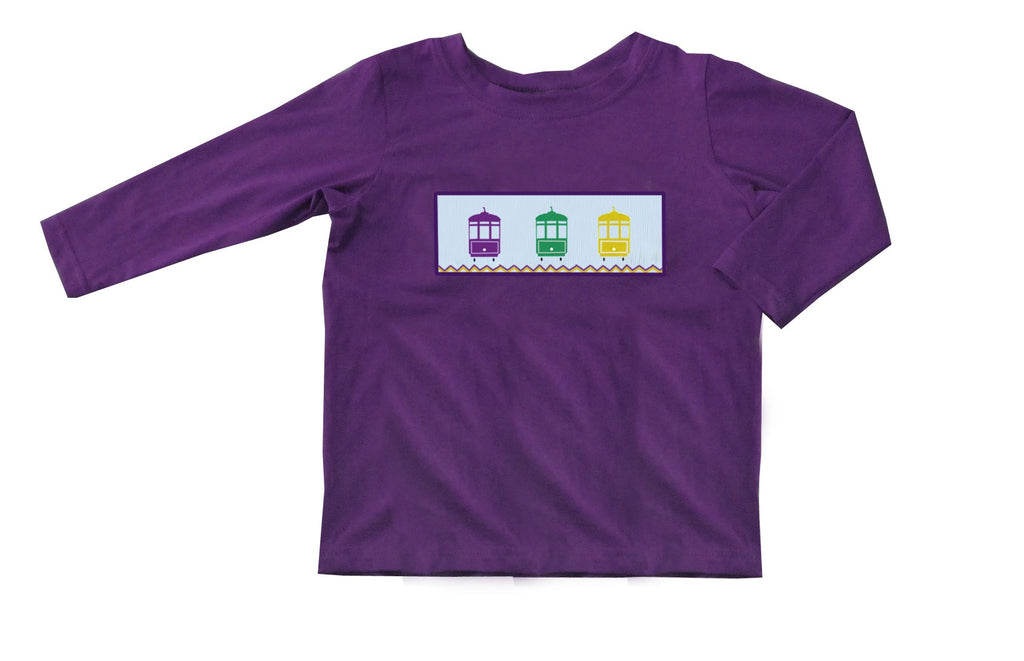 2019 MARDI GRAS streetcar purple long sleeve tshirt
