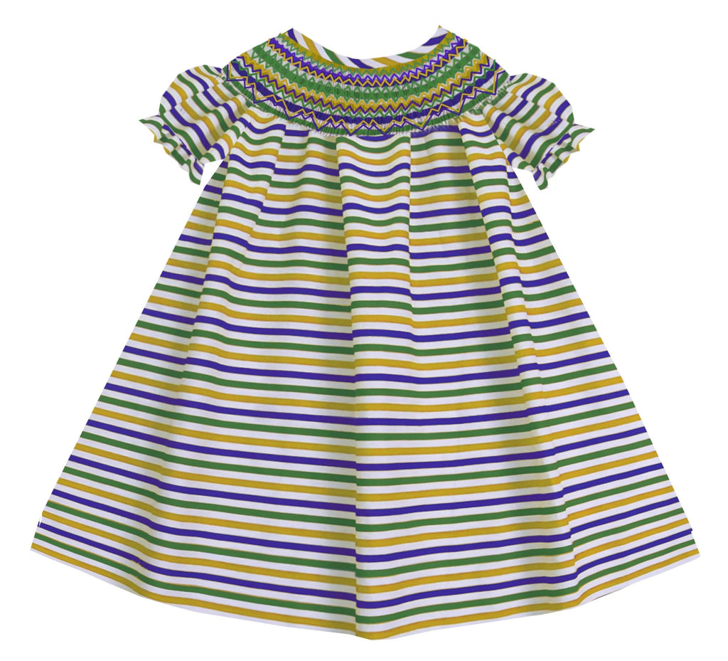 Mardi Gras Stripes Bishop Dress