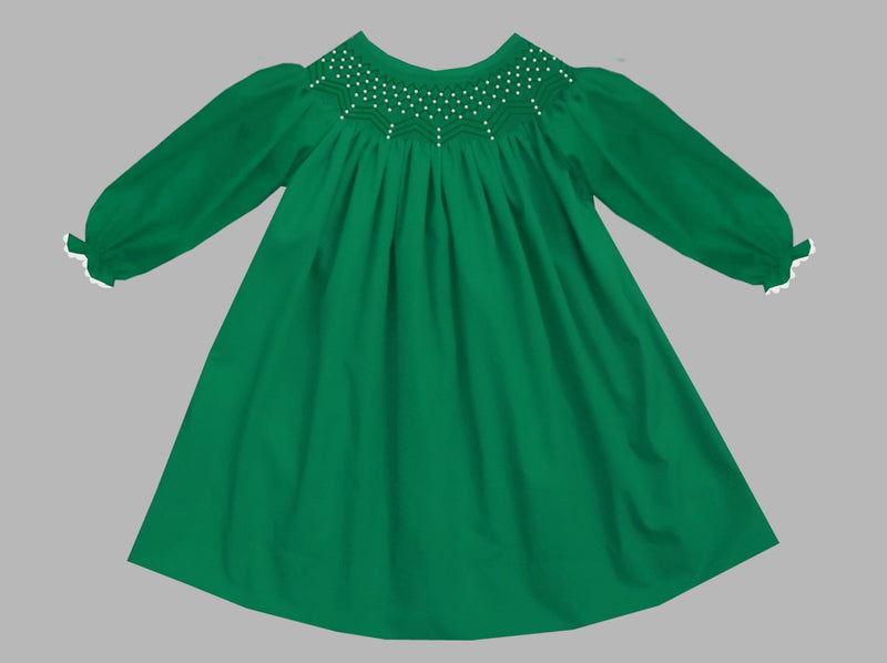 2019 Solid Pearl Long Sleeve Bishop Dress Green